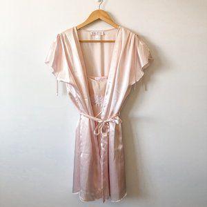 Oscar De La Renta Pink Label Satin Slip & Robe